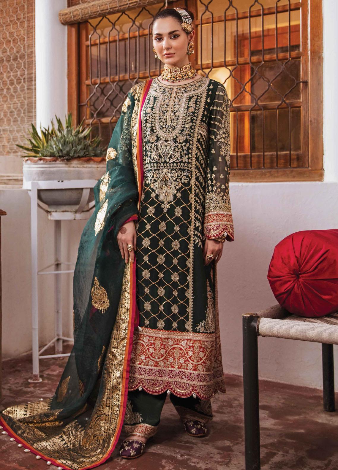 Shehnai by Afrozeh Embroidered Chiffon Suit Unstitched 3 Piece 10 RAATKUMARI – Wedding Collection