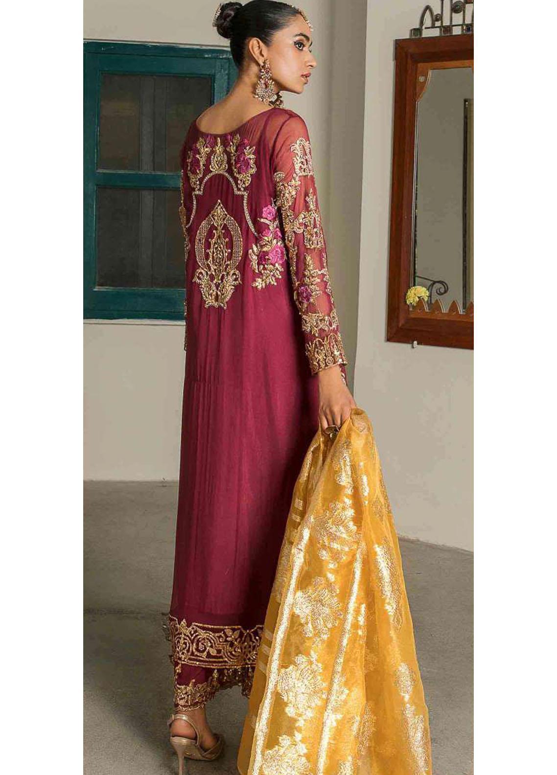 Suraj Garh by Imrozia Premium Embroidered Chiffon Suit Unstitched 3 Piece I-144 ROSHINA – Wedding Collection