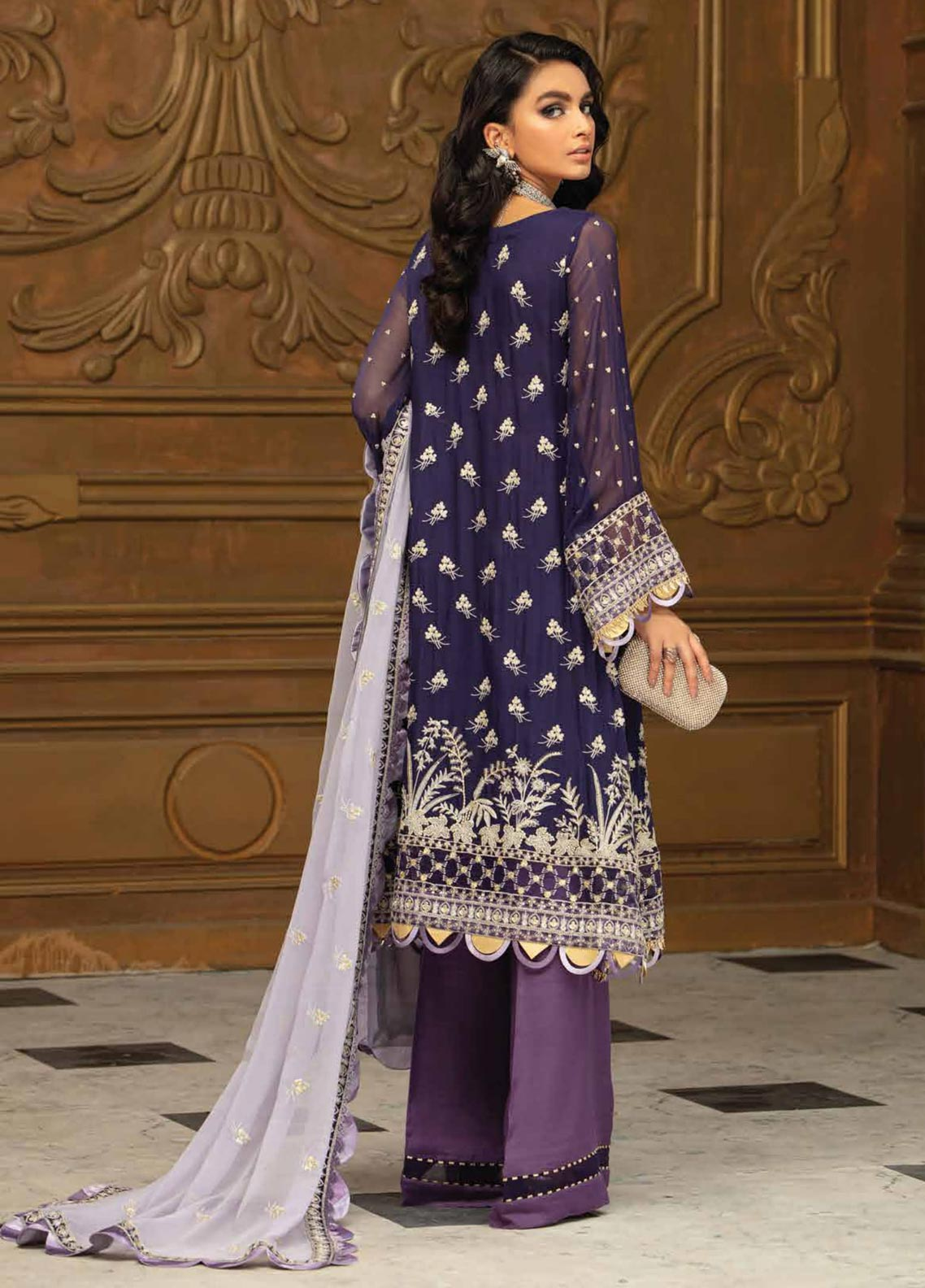 Roheenaz Embroidered Chiffon Suit Unstitched 3 Piece 01 – Luxury Collection