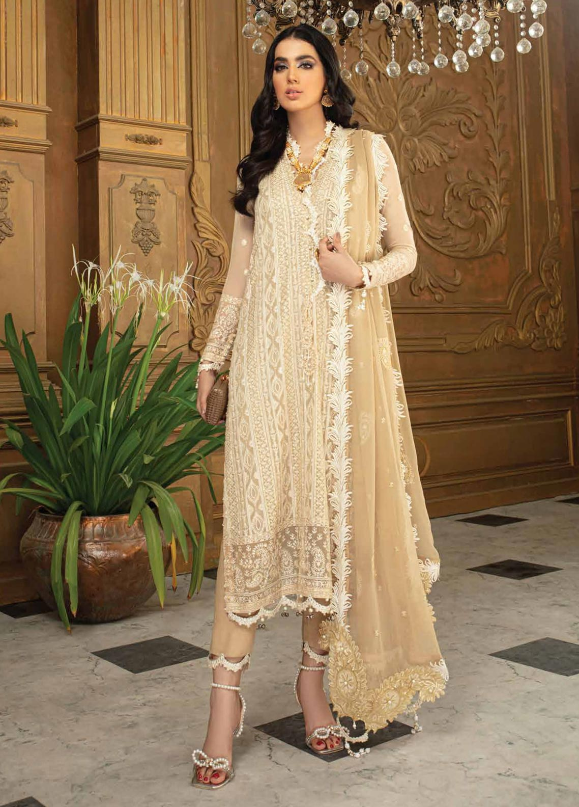 Roheenaz Embroidered Chiffon Suit Unstitched 3 Piece 04 – Luxury Collection