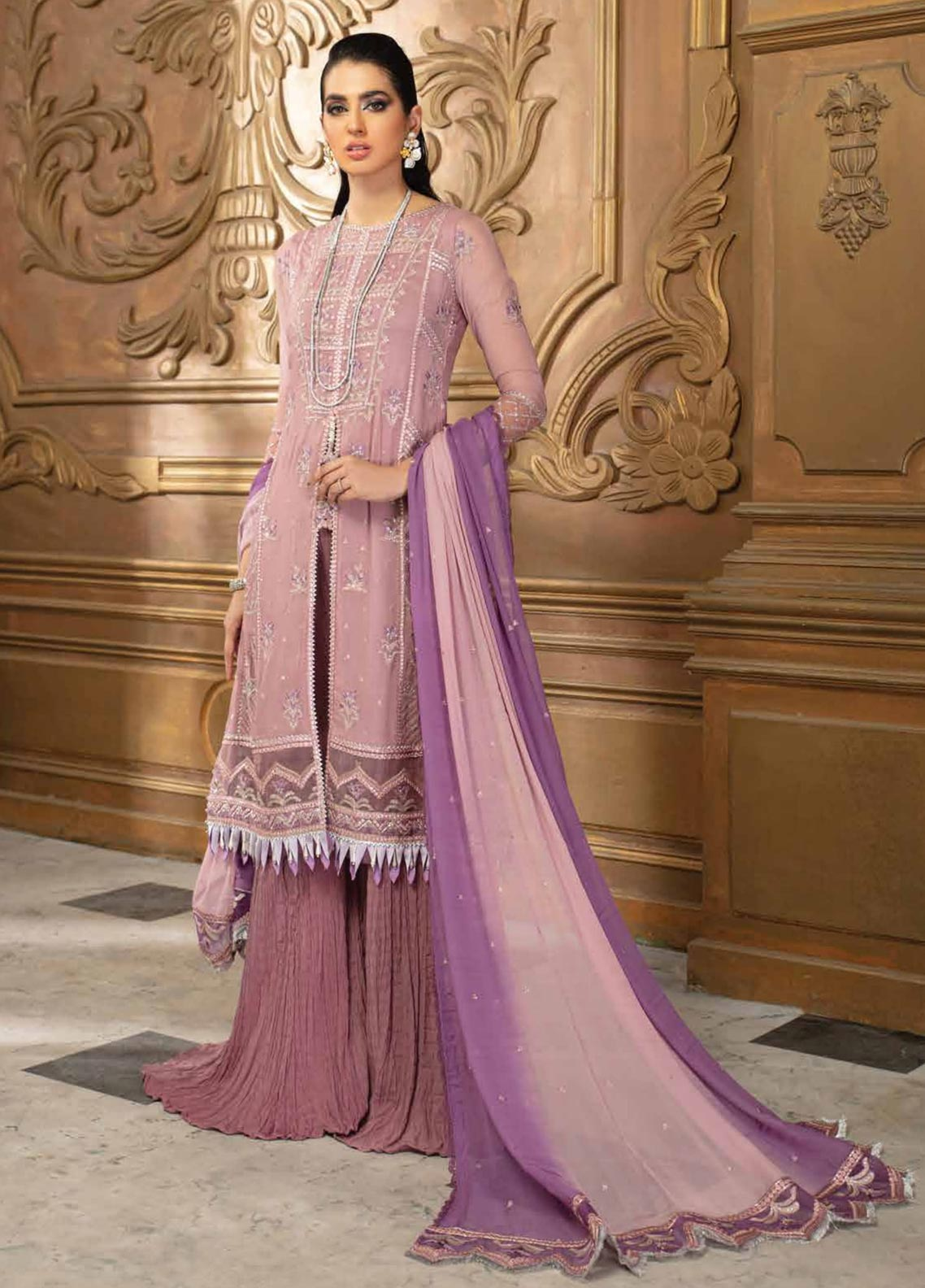 Roheenaz Embroidered Chiffon Suit Unstitched 3 Piece 10 – Luxury Collection