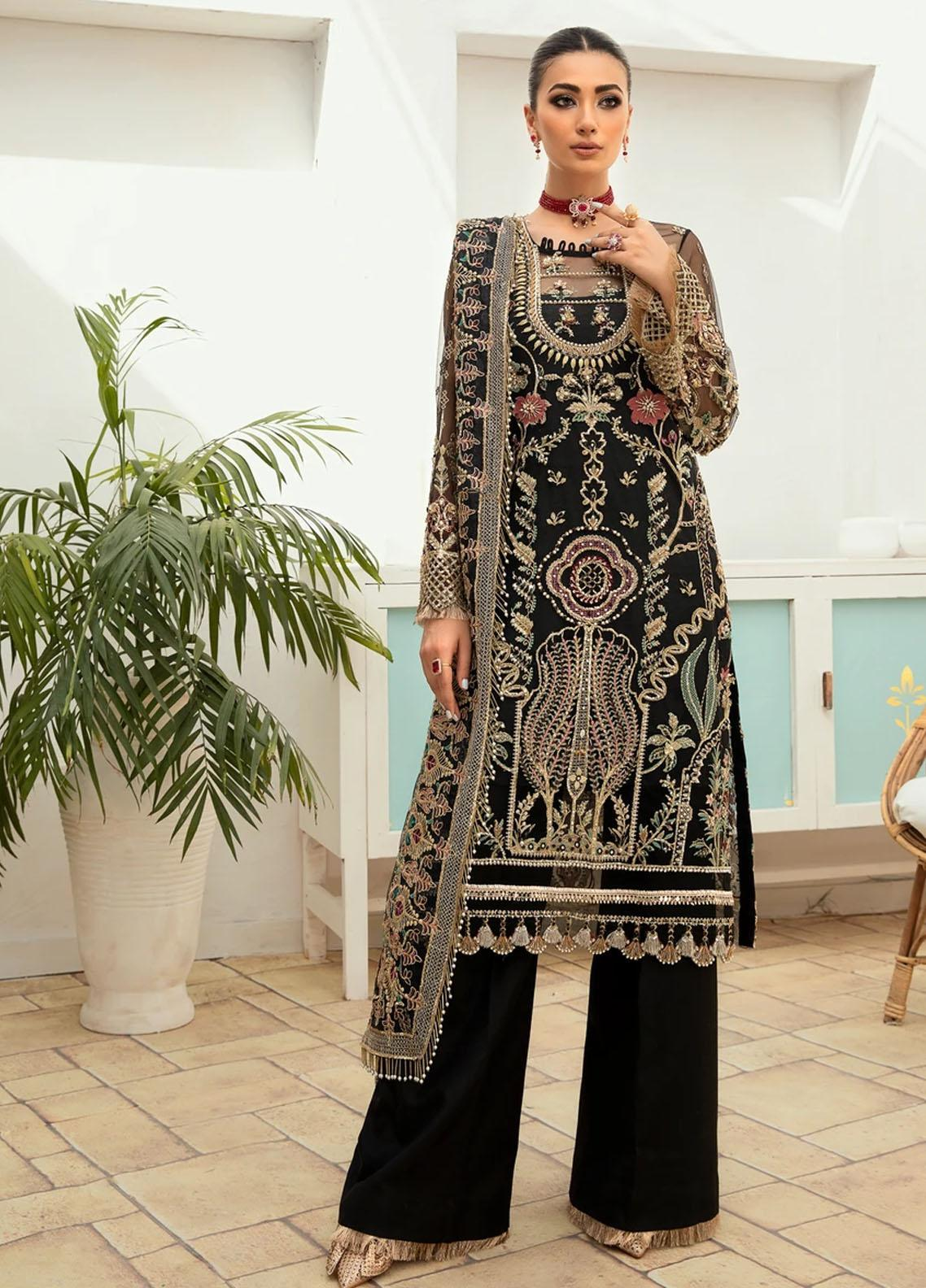 Marwa by Maryam Hussain Embroidered Net Suit Unstitched 3 Piece 03 MEENA – Luxury Collection