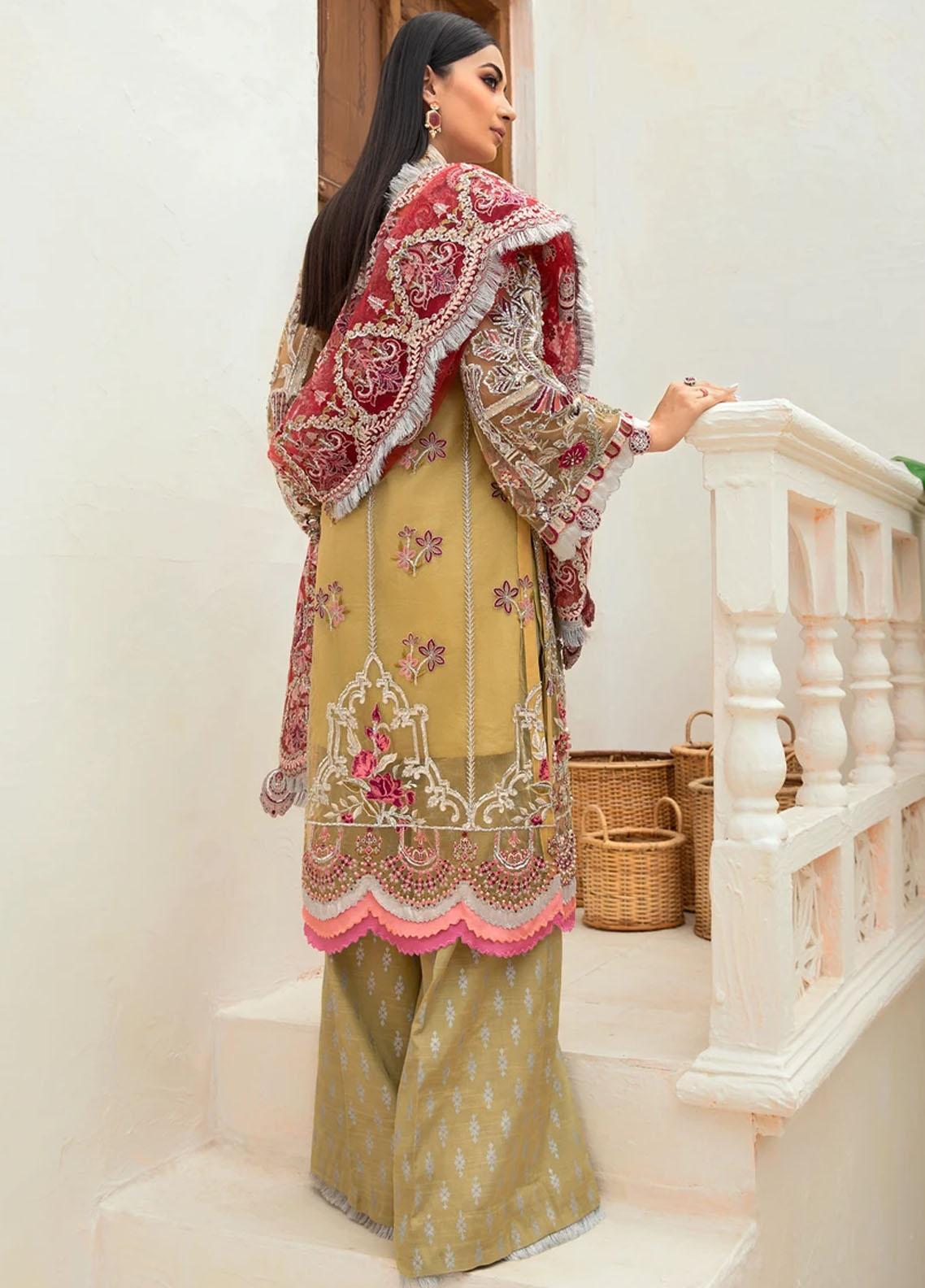Marwa by Maryam Hussain Embroidered Net Suit Unstitched 3 Piece 05 MUSHK – Luxury Collection