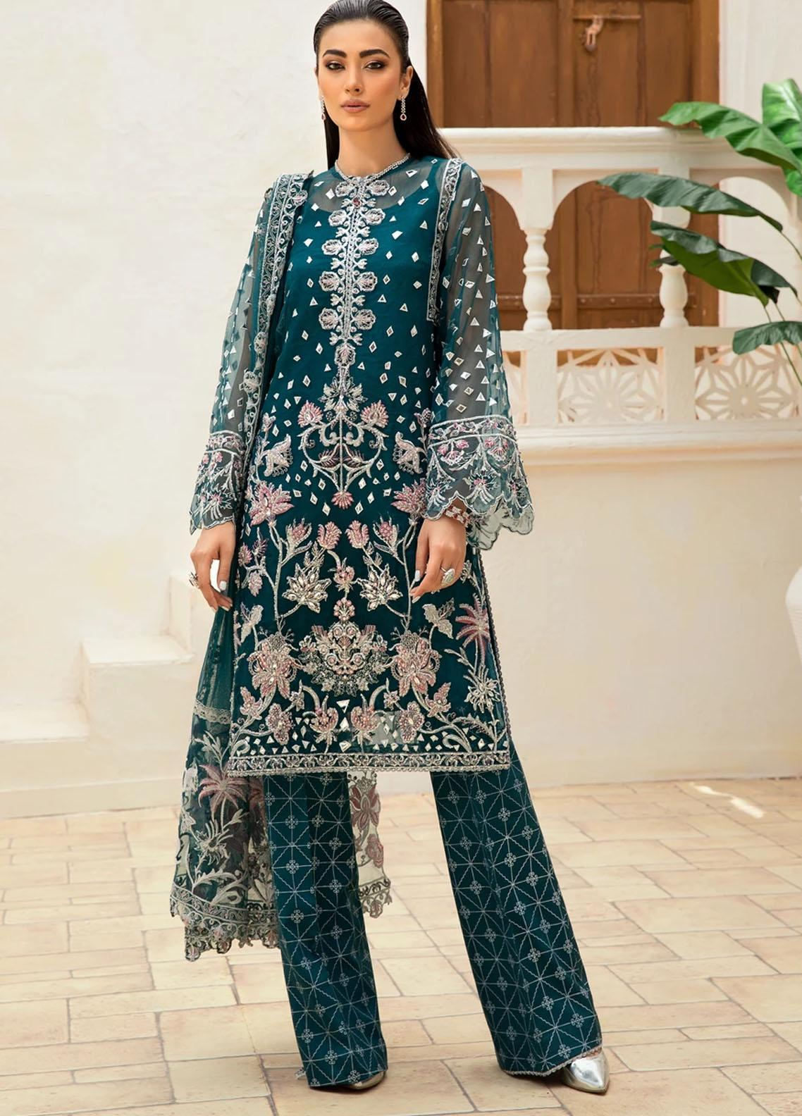 Marwa by Maryam Hussain Embroidered Net Suit Unstitched 3 Piece 06 SEHAR – Luxury Collection