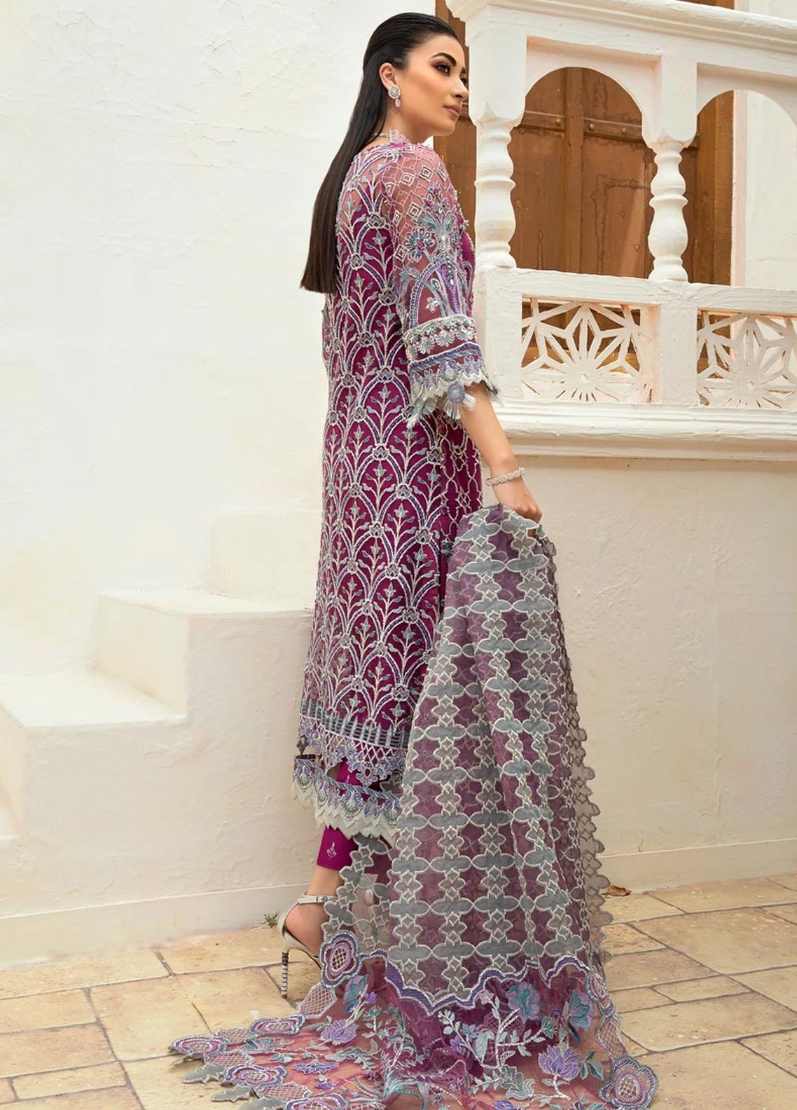 Marwa by Maryam Hussain Embroidered Net Suit Unstitched 3 Piece 07 MEHAR – Luxury Collection