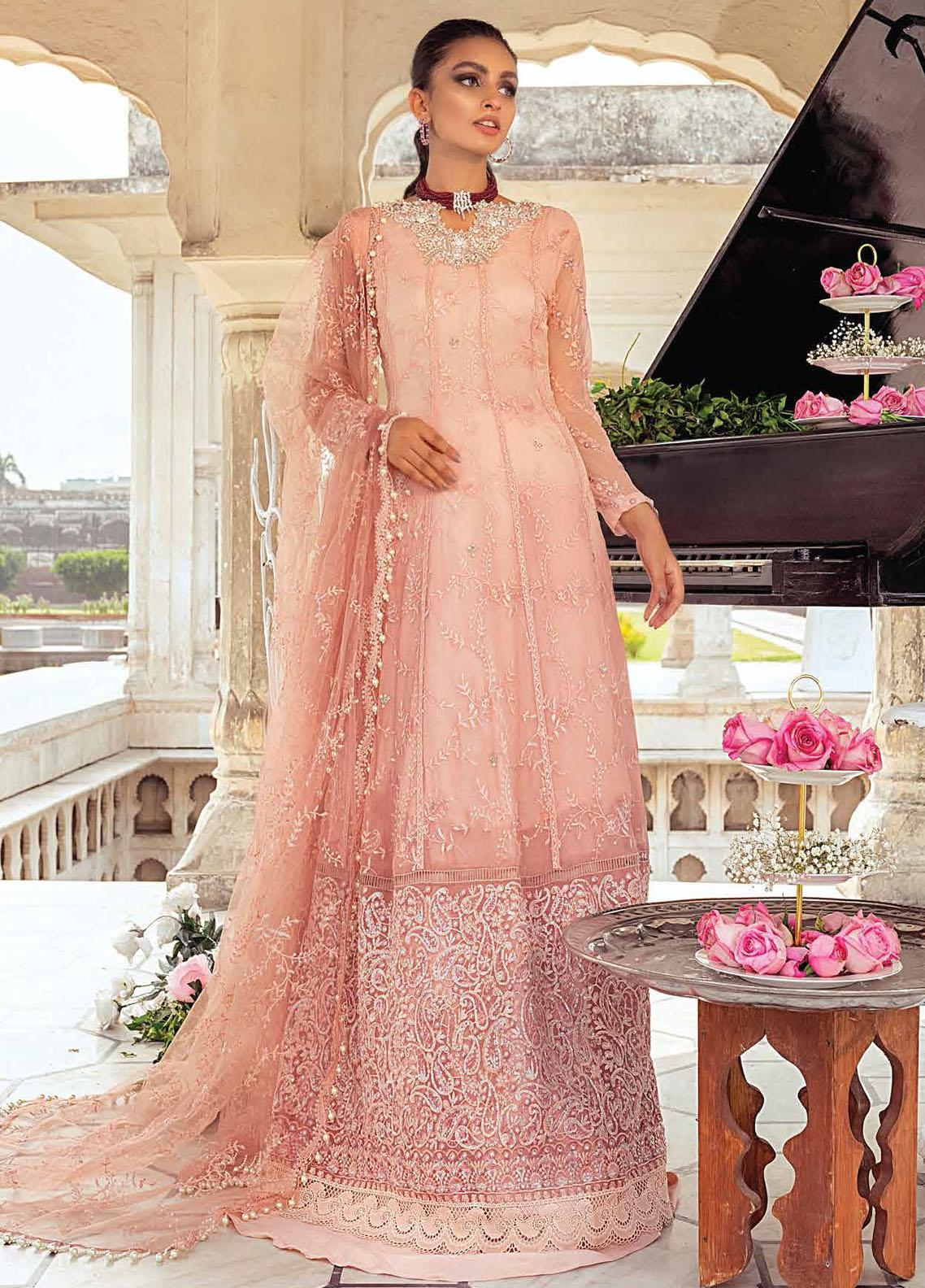 Mushq Embroidered Chiffon Suit Unstitched 3 Piece 01 KESAR – Luxury Collection
