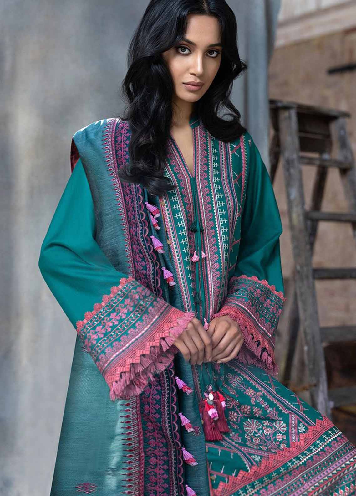 Sobia Nazir Embroidered Cotton Satin Suit Unstitched 3 Piece 03A – Autumn/Winter Collection
