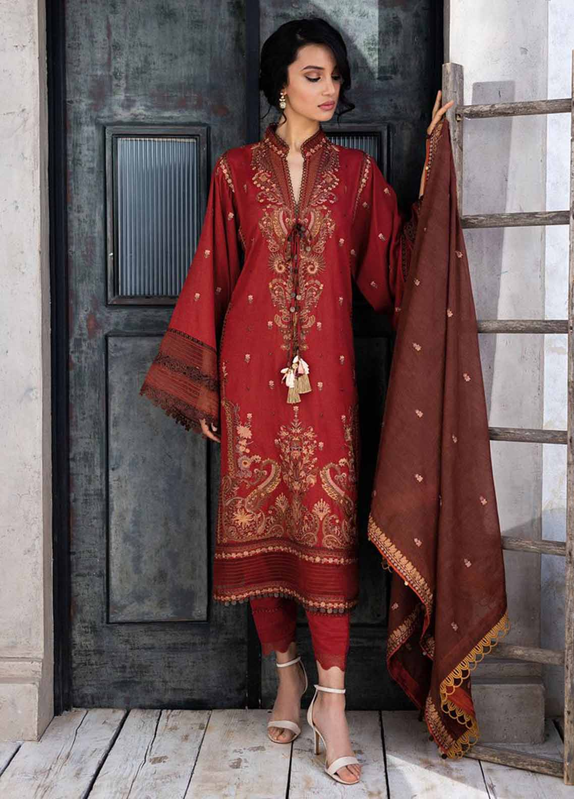 Sobia Nazir Embroidered Khaddar Suit Unstitched 3 Piece 06A – Autumn/Winter Collection