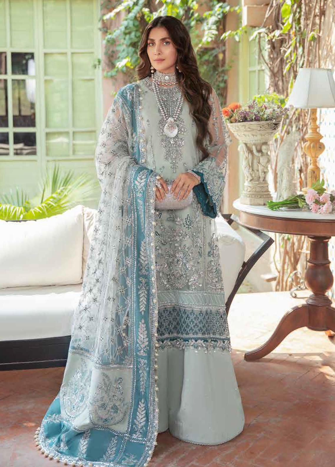 Afrozeh Embroidered Net Suit Unstitched 3 Piece 04 AZURI – Wedding Collection