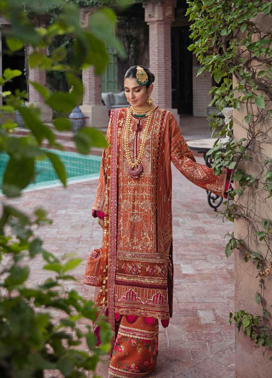 Afrozeh Embroidered Raw Silk Suit Unstitched 3 Piece 09 DAR-E-JAAN – Wedding Collection