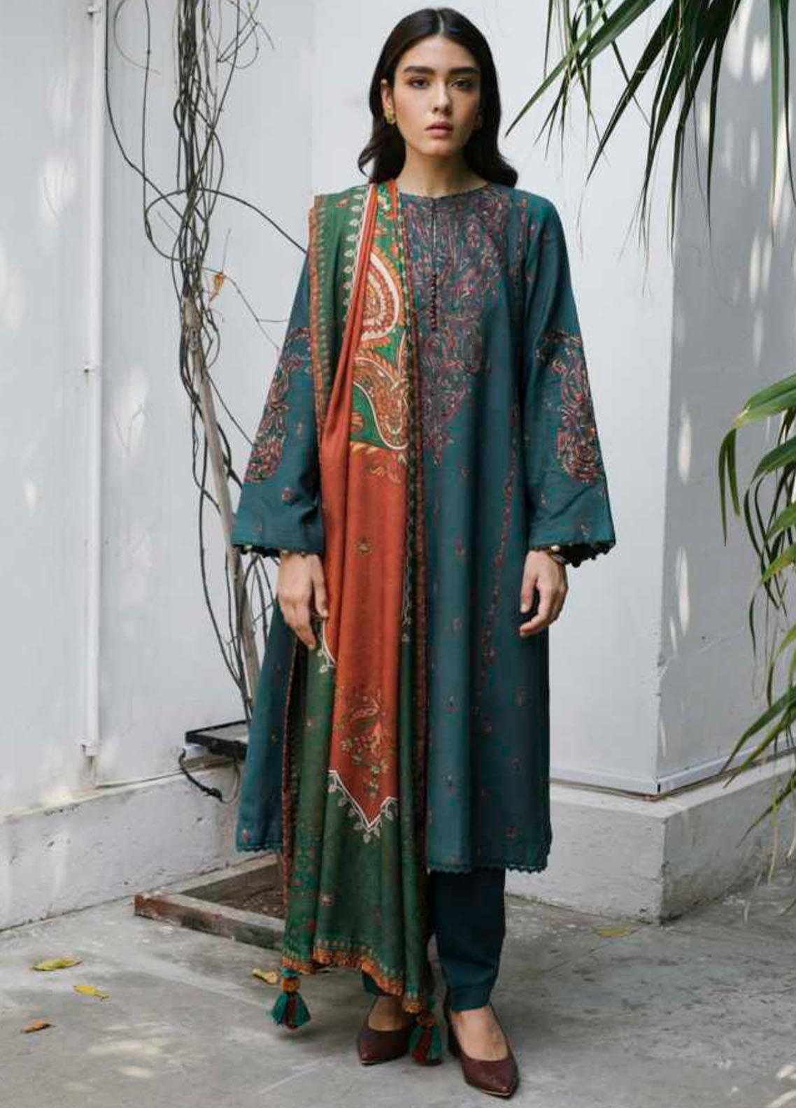 Coco by Zara Shahjahan Embroidered Linen Suit Unstitched 3 Piece 07 A – Winter Collection