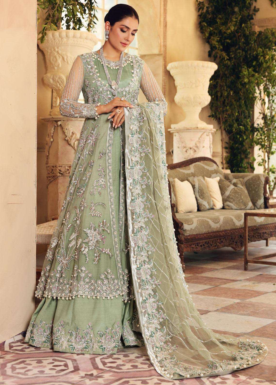 Elaf Embroidered Net Suit Unstitched 3 Piece Emerald 05 – Luxury Bridal Collection