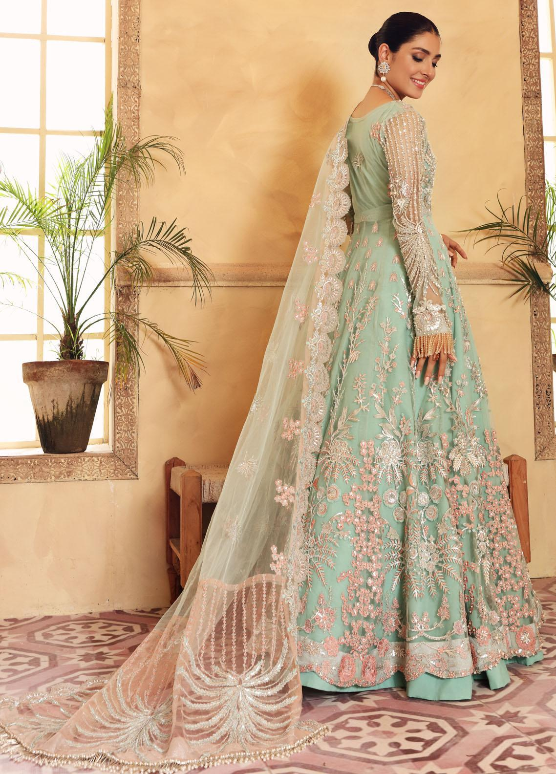 Elaf Embroidered Net Suit Unstitched 3 Piece Aquamarina 03 – Luxury Bridal Collection