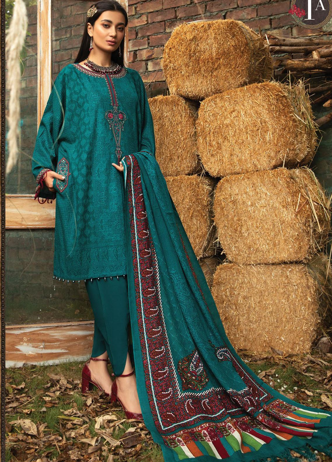 Maria B Mprints Embroidered Khaddar Suit Unstitched 3 Piece 01A – Winter Collection