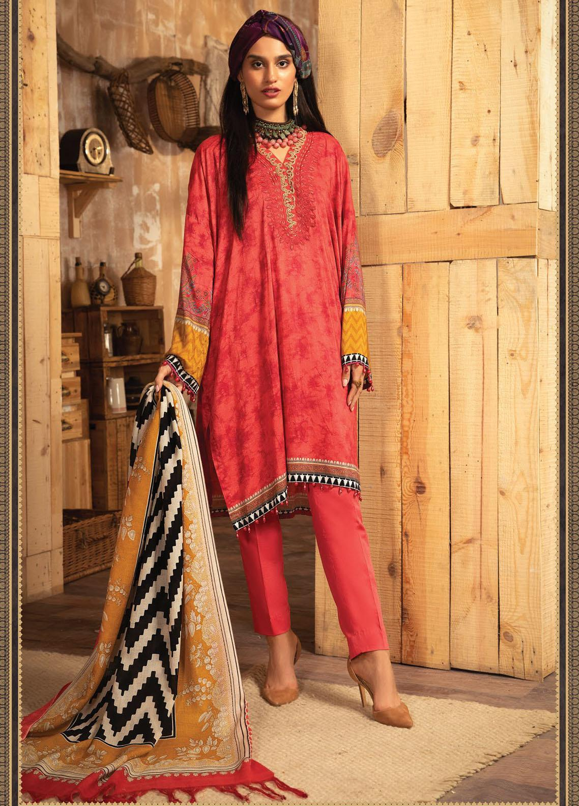 Maria B Mprints Embroidered Dobby Linen Suit Unstitched 3 Piece 02A – Winter Collection
