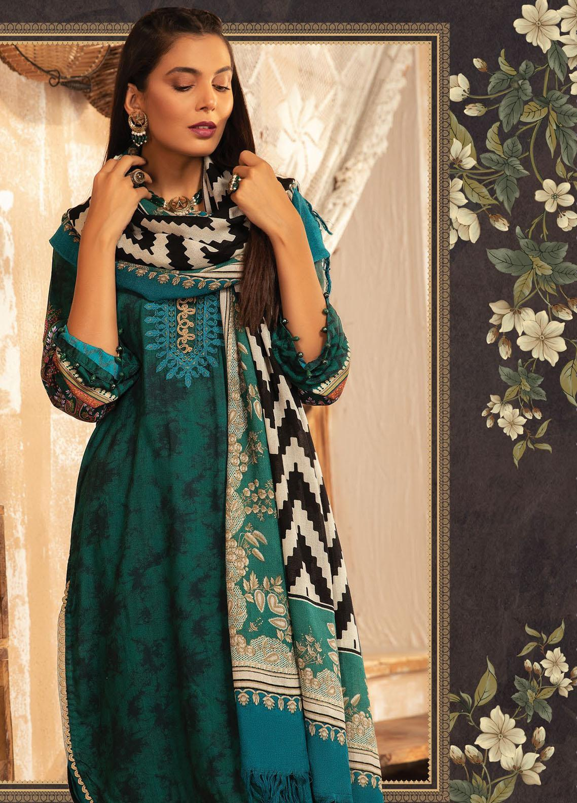 Maria B Mprints Embroidered Dobby Linen Suit Unstitched 3 Piece 02B – Winter Collection