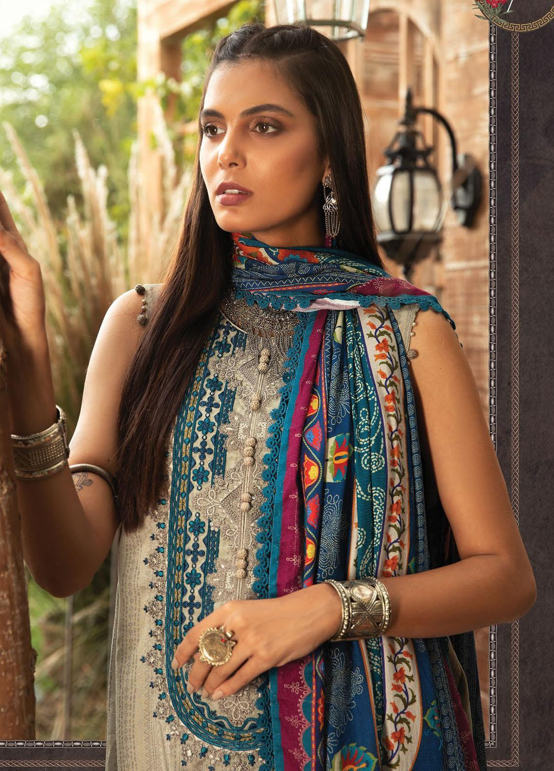 Maria B Mprints Embroidered Dobby Linen Suit Unstitched 3 Piece 07A – Winter Collection