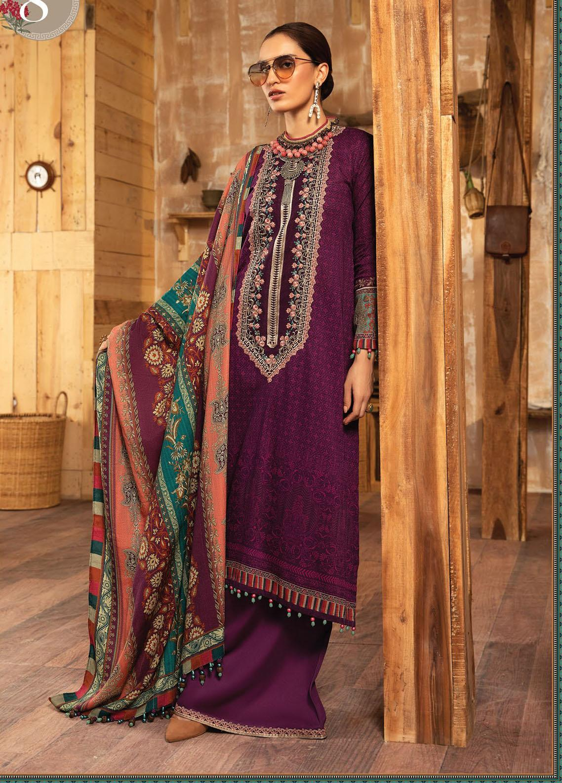 Maria B Mprints Embroidered Khaddar Suit Unstitched 3 Piece 08A – Winter Collection