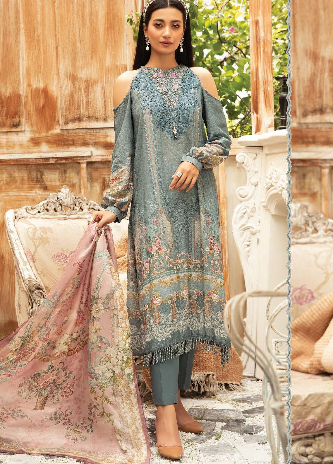Maria B Mprints Embroidered Karandi Suit Unstitched 3 Piece 11B – Winter Collection