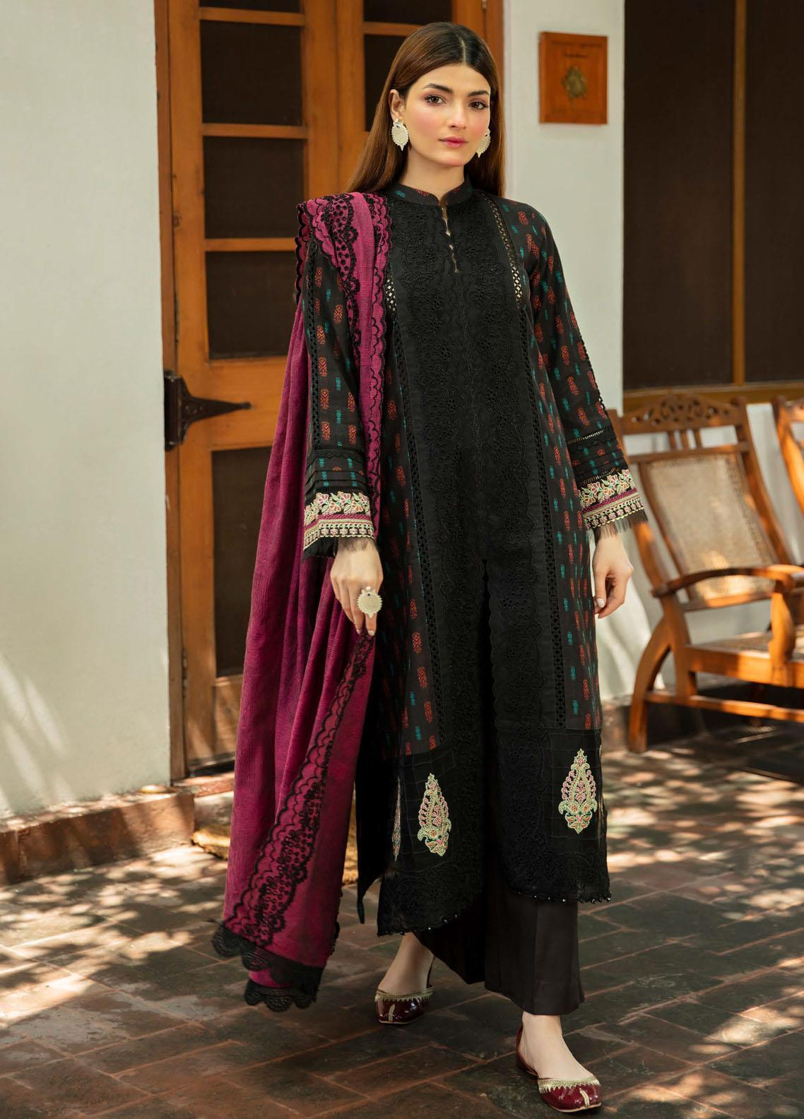 Qalamkar Embroidered Linen Suit Unstitched 3 Piece 03 – Winter Collection