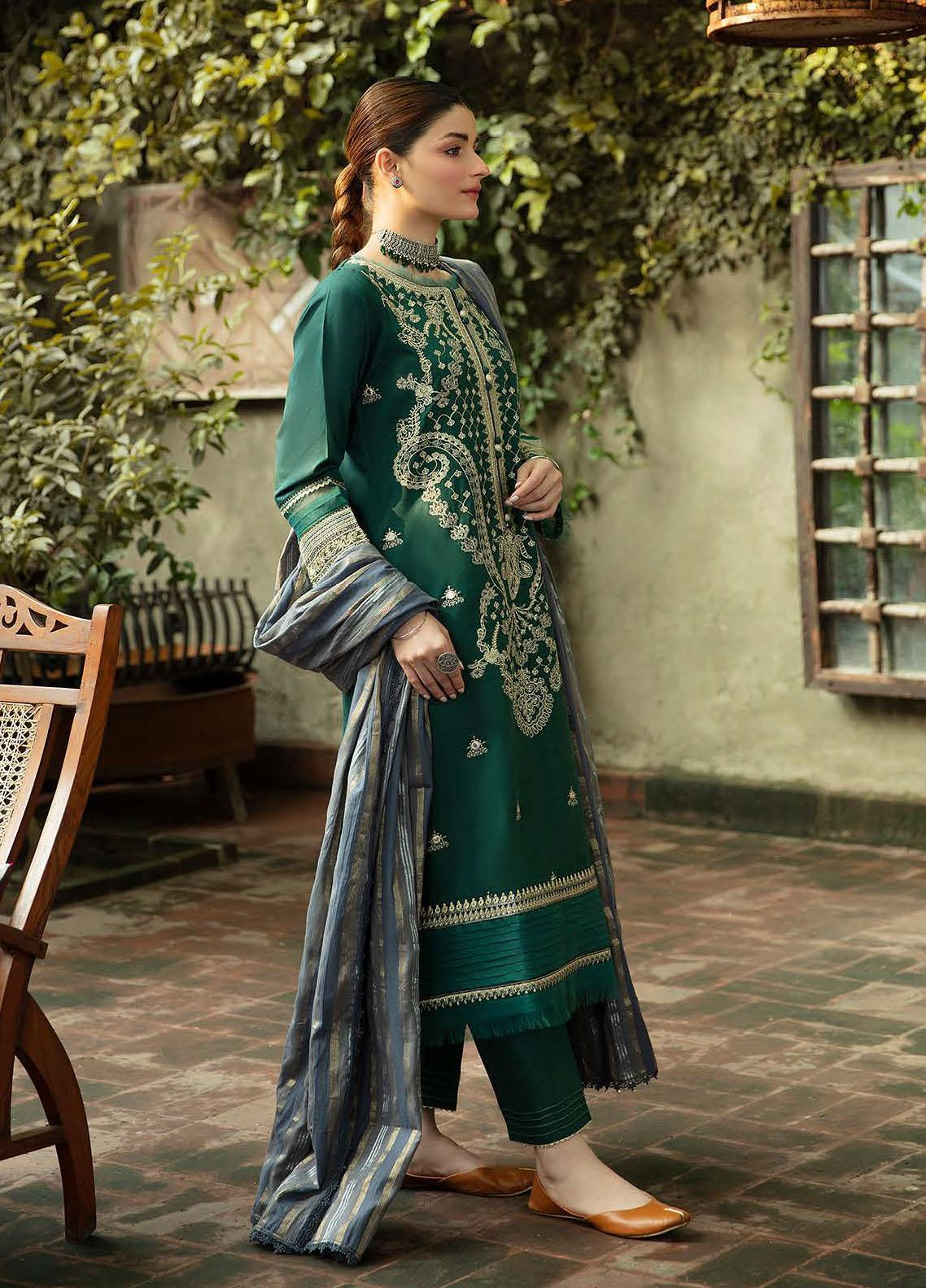Qalamkar Embroidered Linen Suit Unstitched 3 Piece 04 – Winter Collection