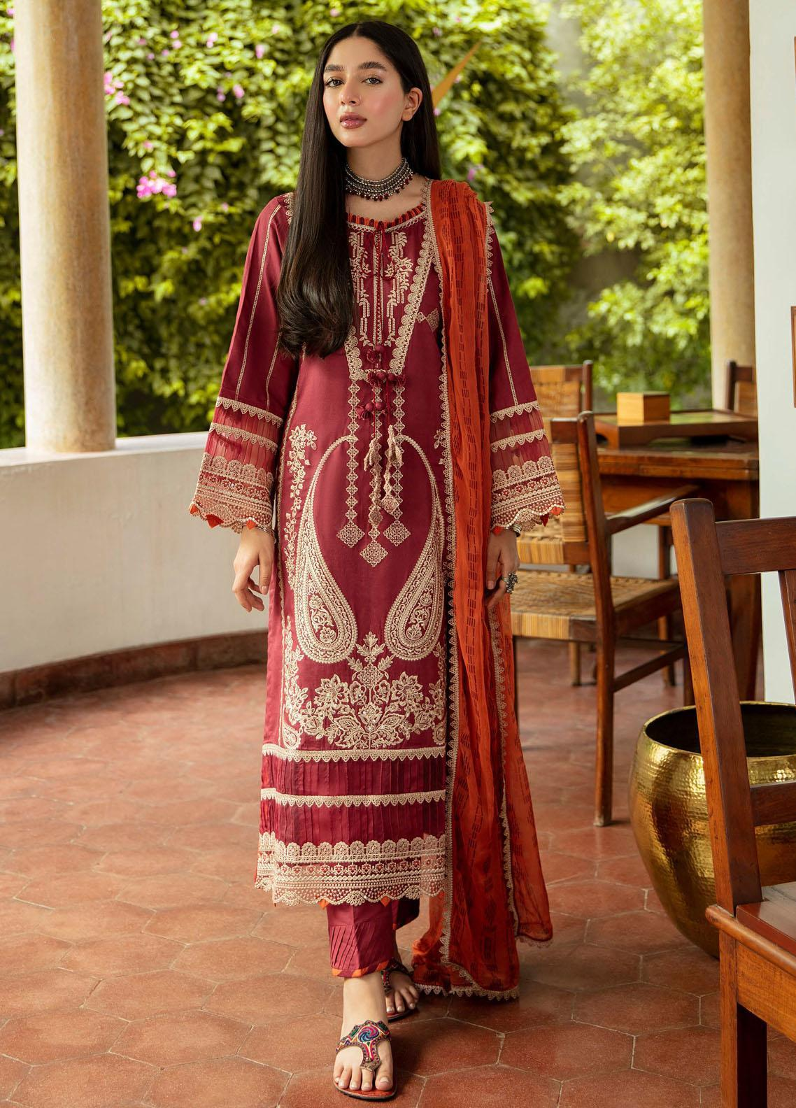 Qalamkar Embroidered Organza Suit Unstitched 3 Piece 07 – Winter Collection
