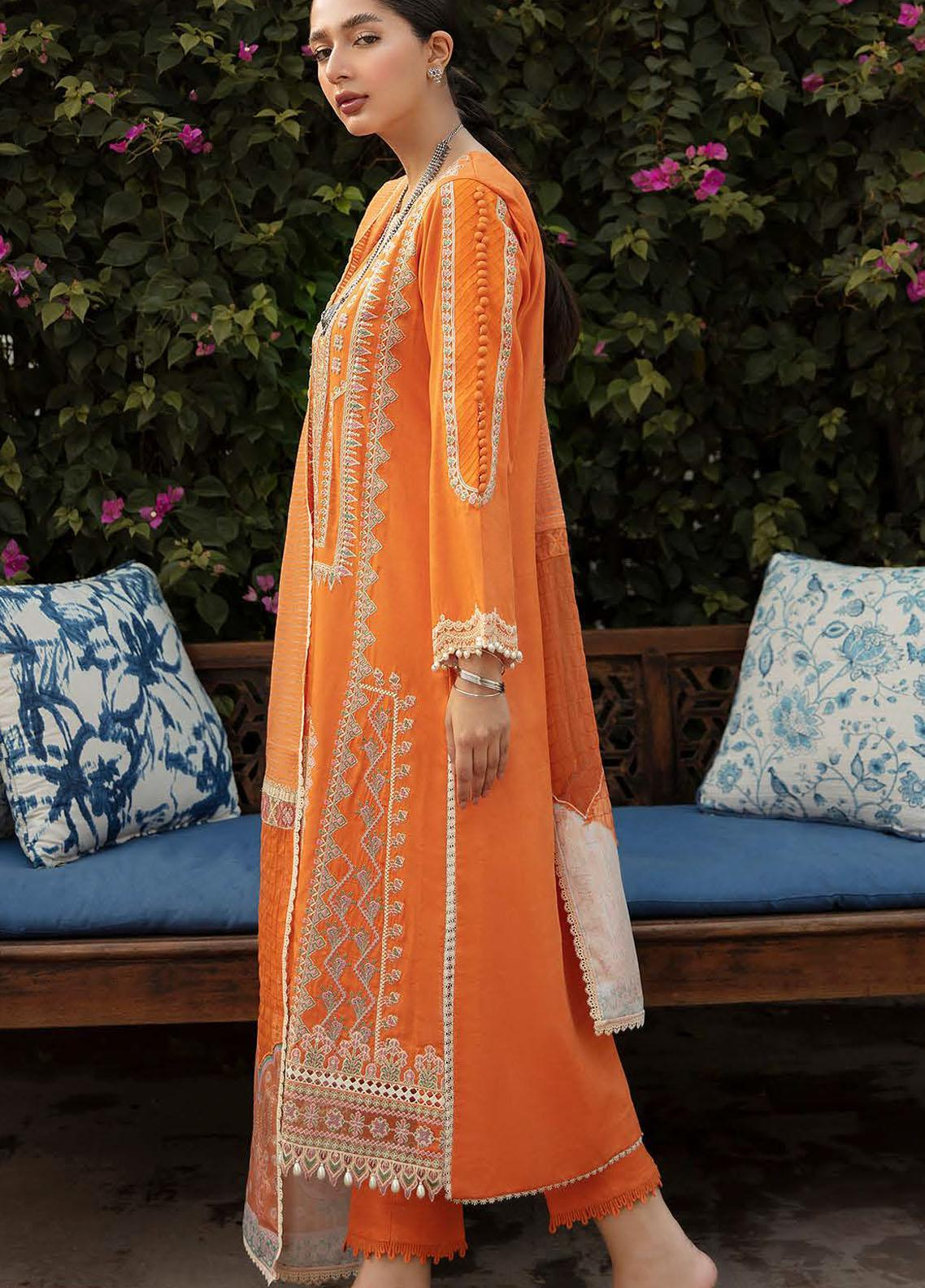 Qalamkar Embroidered Linen Suit Unstitched 3 Piece 12 – Winter Collection