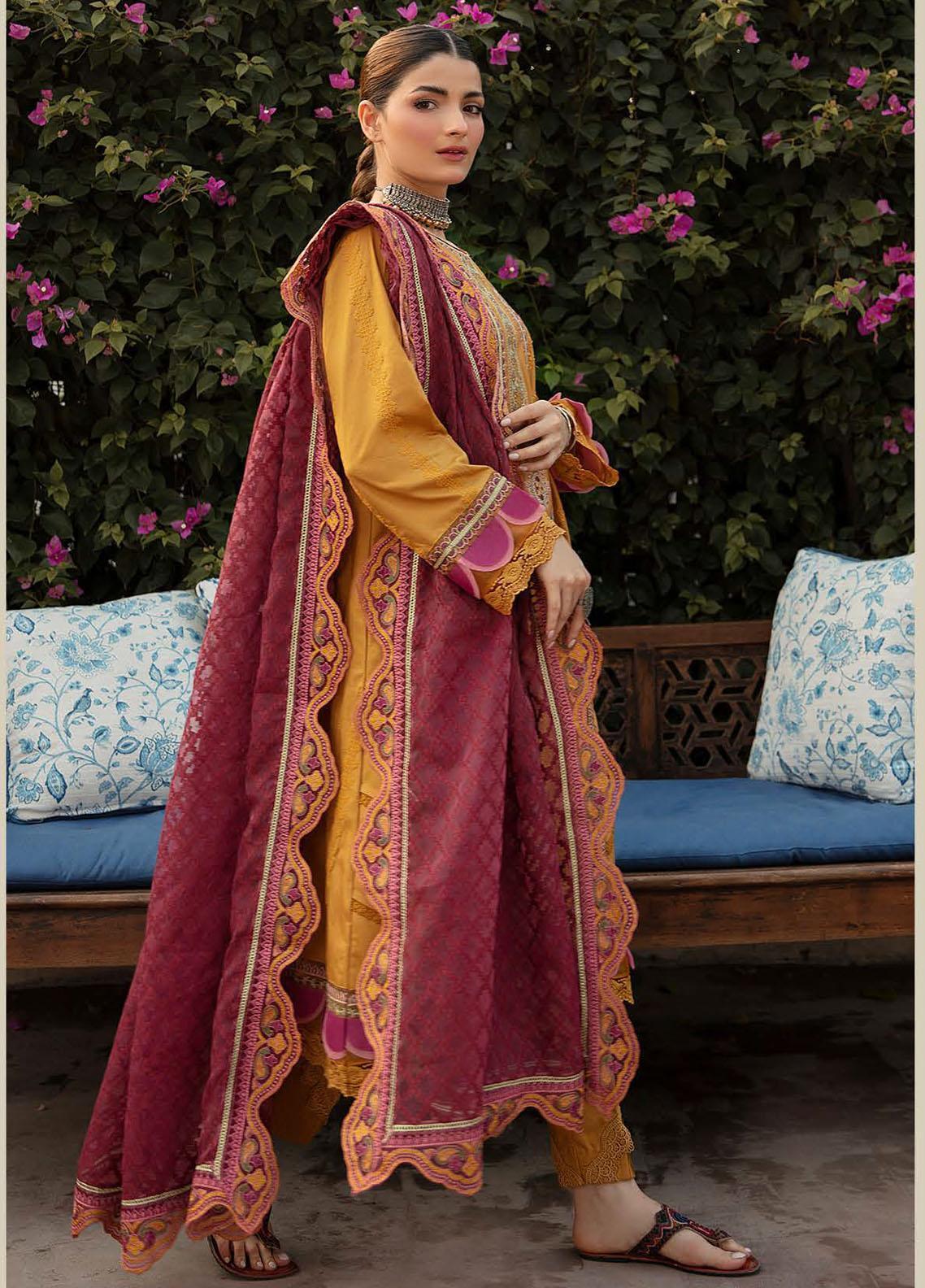 Qalamkar Embroidered Schiffli Suit Unstitched 3 Piece 13 – Winter Collection