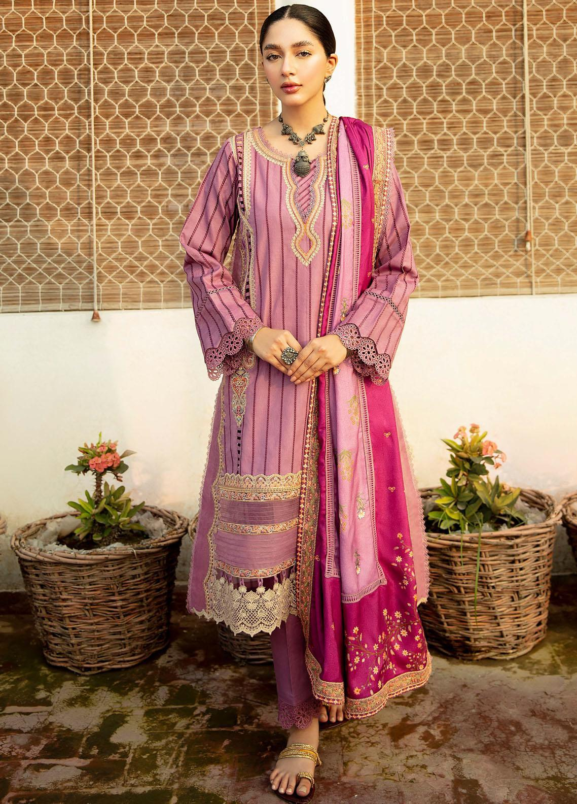 Qalamkar Embroidered Linen Suit Unstitched 3 Piece 14 – Winter Collection