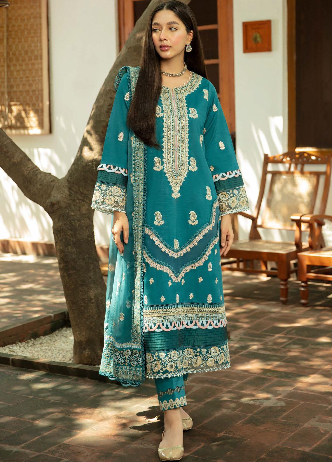 Qalamkar Embroidered Organza Suit Unstitched 3 Piece 15 – Winter Collection